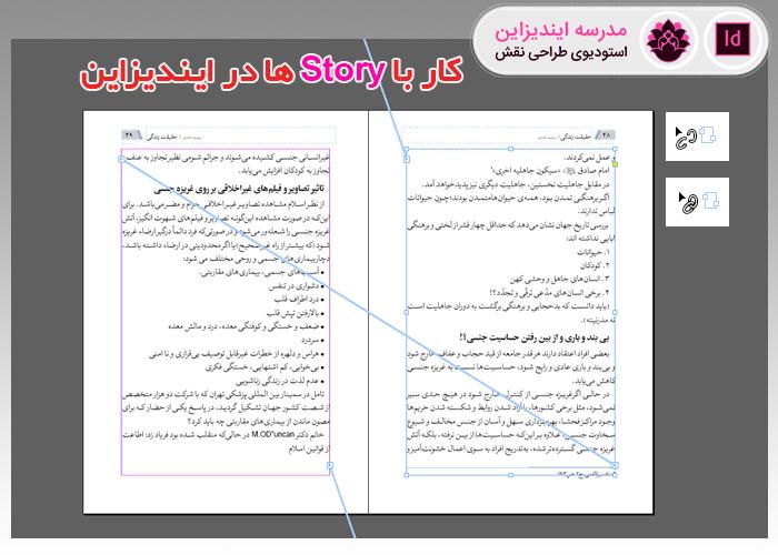 کار با story در ایندیزاین و اتصال و جداسازی کادرهای متنی